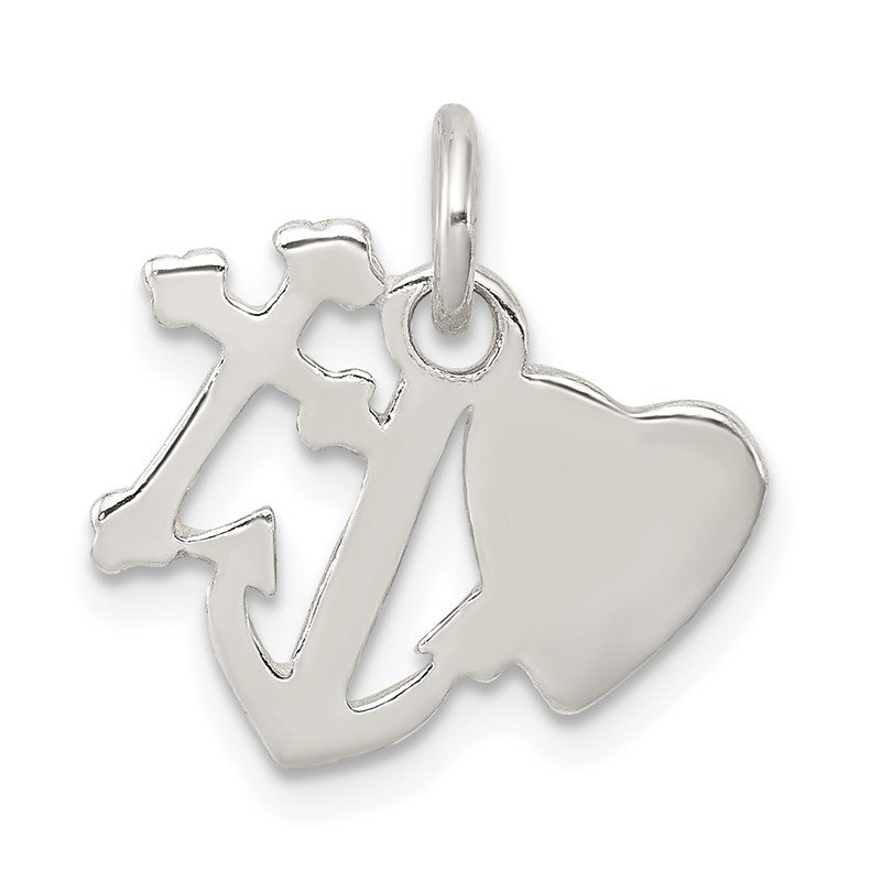 Quality Gold Sterling Silver Polished Cross, Heart and Anchor Charm