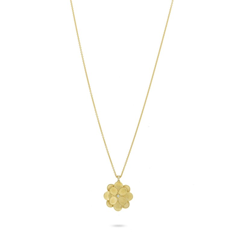 Marco Bicego Marco Bicego® Petali Collection 18K Yellow Gold and Diamond Long Flower Pendant