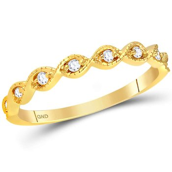 14kt Yellow Gold Womens Round Diamond Contoured Stackable Band Ring 1/10 Cttw