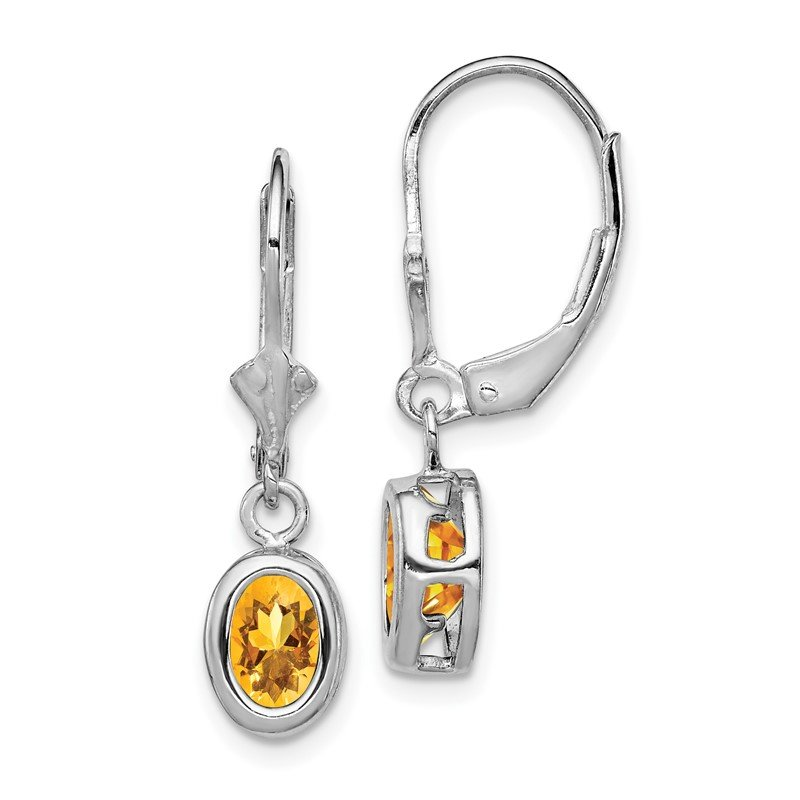 Quality Gold Sterling Silver Rhodium 7x5mm Oval Citrine Leverback Earrings