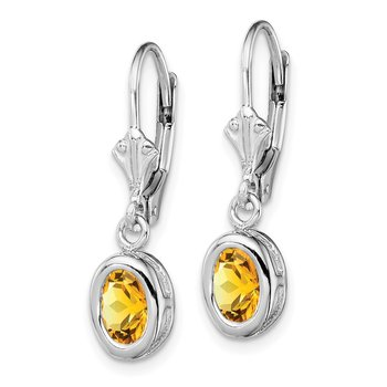 Sterling Silver Rhodium 7x5mm Oval Citrine Leverback Earrings