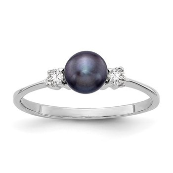 14k White Gold 5mm Black FW Cultured Pearl A Diamond ring