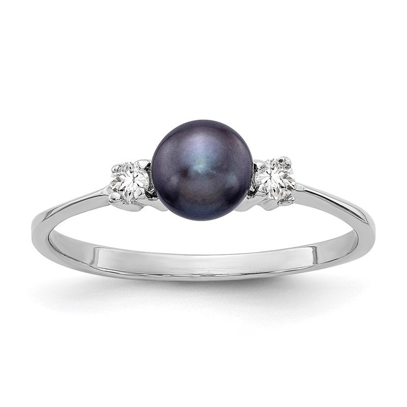 Quality Gold 14k White Gold 5mm Black FW Cultured Pearl A Diamond ring