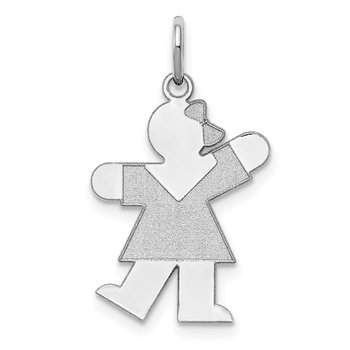 Sterling Silver Rhodium-plated Kiss Kid Charm