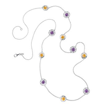 Sterling Silver Citrine & Amethyst Necklace