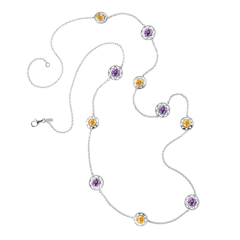 Colore Sg Sterling Silver Citrine & Amethyst Necklace