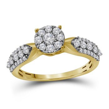 10kt Yellow Gold Womens Round Diamond Cluster Bridal Wedding Engagement Ring 5/8 Cttw