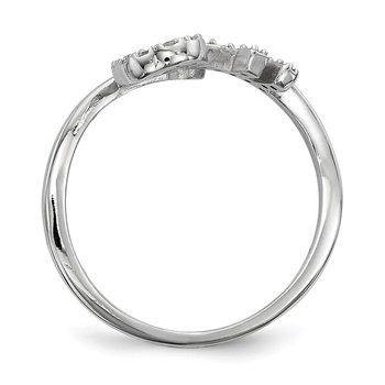 Sterling Silver Rhodium-plated CZ Key Adjustable Ring