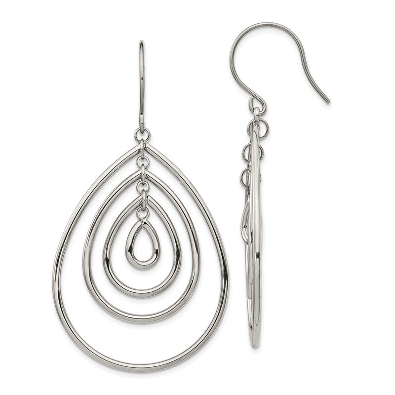 Chisel Stainless Steel Polished Dangle Shepherd Hook Earrings