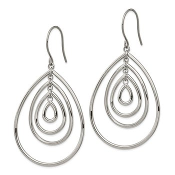 Stainless Steel Polished Dangle Shepherd Hook Earrings