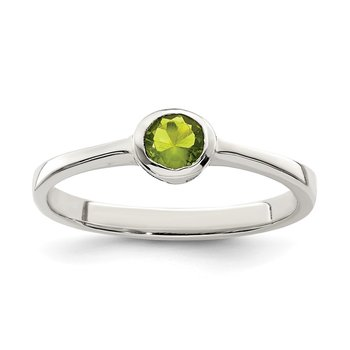 Sterling Silver Lime Green Round Bezel CZ Ring