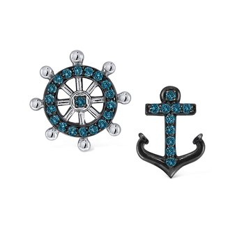 Gold and Diamond Mix Match Nautical Earrings