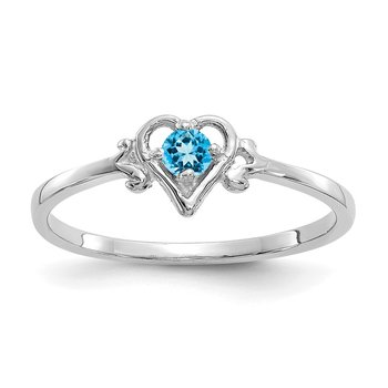 14K White Gold Blue Topaz Birthstone Heart Ring