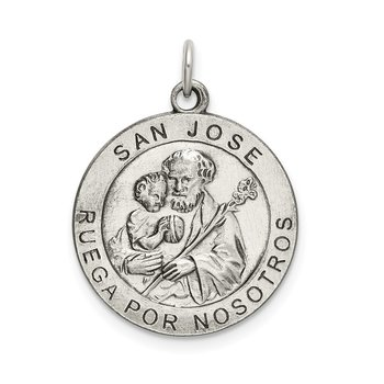 Sterling Silver Satin Antiqued Spanish St. Joseph Medal Pendant