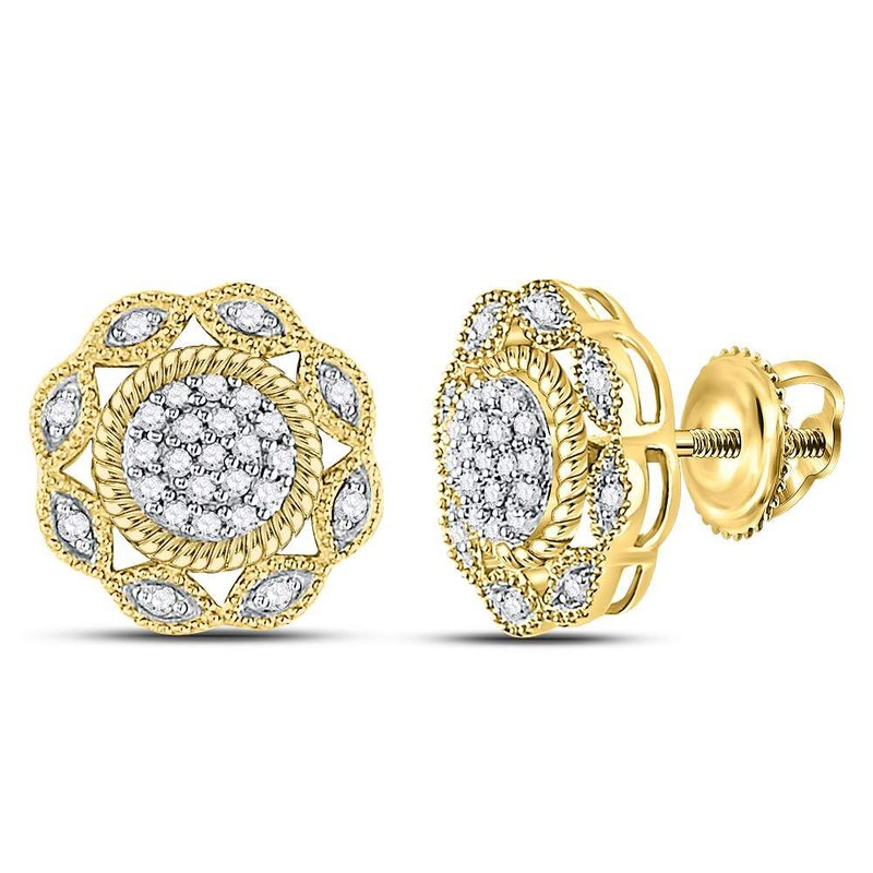 Gold-N-Diamonds, Inc. (Atlanta) 10kt Yellow Gold Womens Round Diamond Milgrain Cable Cluster Earrings 1/6 Cttw
