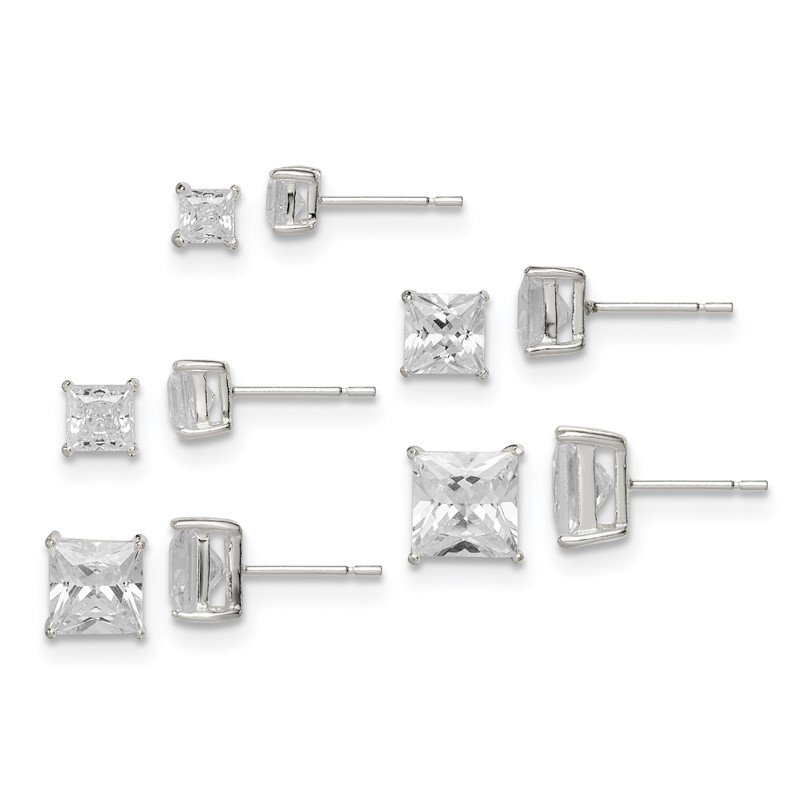 Quality Gold Sterling Silver Polished Square White CZ Post Earrings 5-pair Set