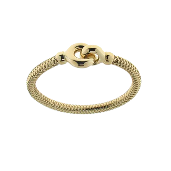 18KT YELLOW GOLD BANGLE WITH ROUND BUCKLE