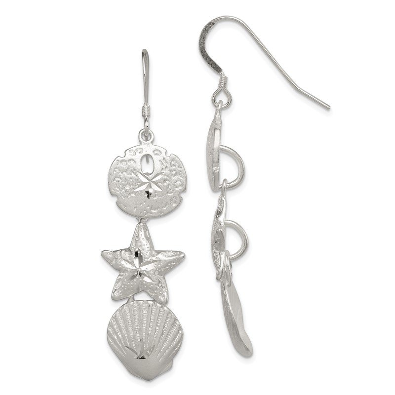 Fine Jewelry by JBD Sterling Silver Sand Dollar, Starfish and Shell Earrings