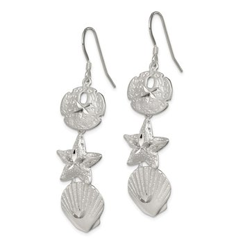 Sterling Silver Sand Dollar, Starfish and Shell Earrings