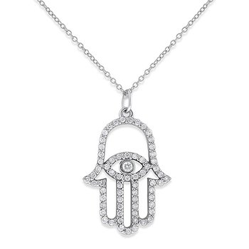 Diamond Evil Eye Hamsa Necklace in 14k White Gold with 66 Diamonds weighing .36ct tw.