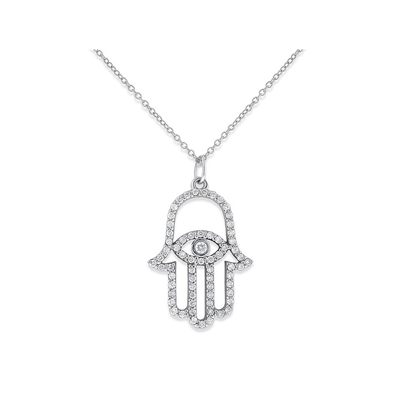 KC Designs Diamond Evil Eye Hamsa Necklace in 14k White Gold with 66 Diamonds weighing .36ct tw.