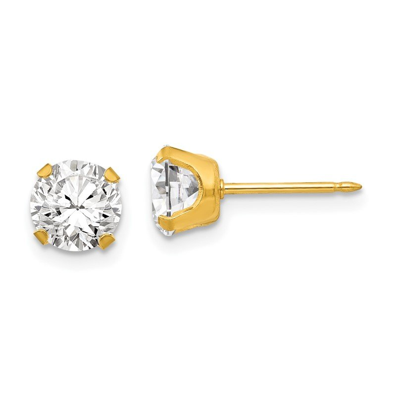 Quality Gold Inverness 24k Plated 7mm CZ Earrings