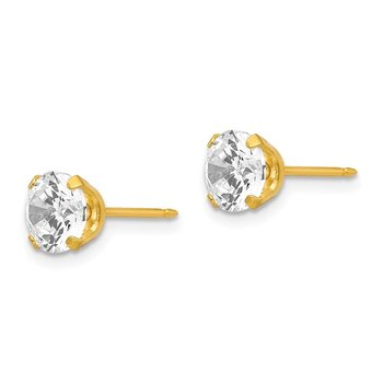 Inverness 24k Plated 7mm CZ Earrings