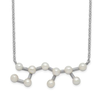 Sterling Silver Rhd-plat 10 3-4mm FWC Pearl Sagitarius w/ 1in ext. Necklace