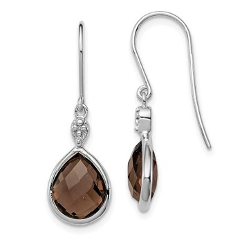 Sterling Silver Rhodium Plated Dia. & Smoky Quartz Dangle Earrings