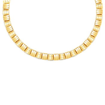 18K VENETO WOVEN COLLAR W. DIAMOND ACCENT