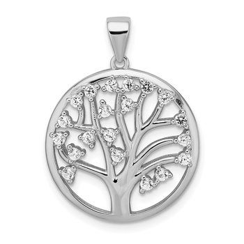 Sterling Silver Rhodium-plated Created White Sapphire Tree of Life Pendant