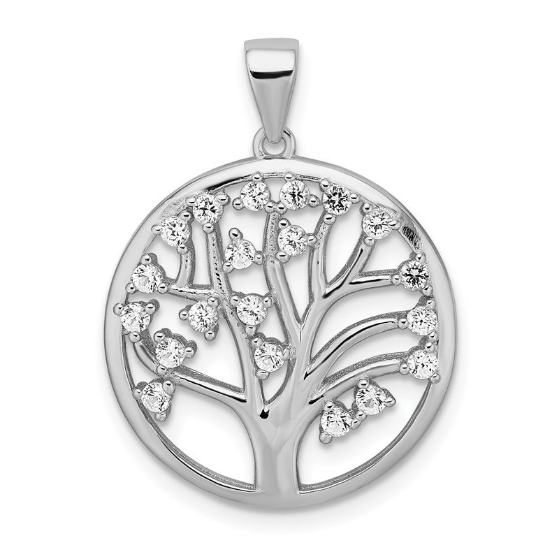 Quality Gold Sterling Silver Rhodium-plated Created White Sapphire Tree of Life Pendant