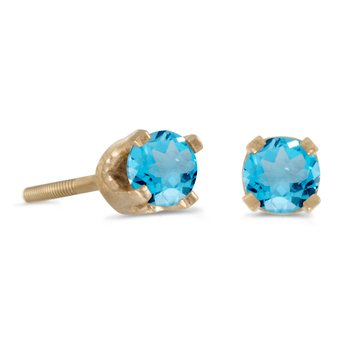 3 mm Petite Round Blue Topaz Screw-back Stud Earrings in 14k Yellow Gold