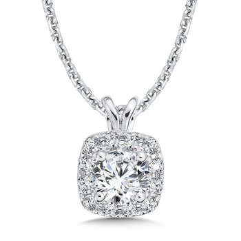 Diamond Cushion Halo Pendant with Split Bale in 14K White Gold (1/3ct. tw.)