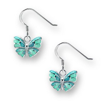 Turquoise Butterfly Wire Earrings.Sterling Silver