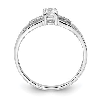 Sterling Silver Rhod-plated Diamond White Topaz Ring