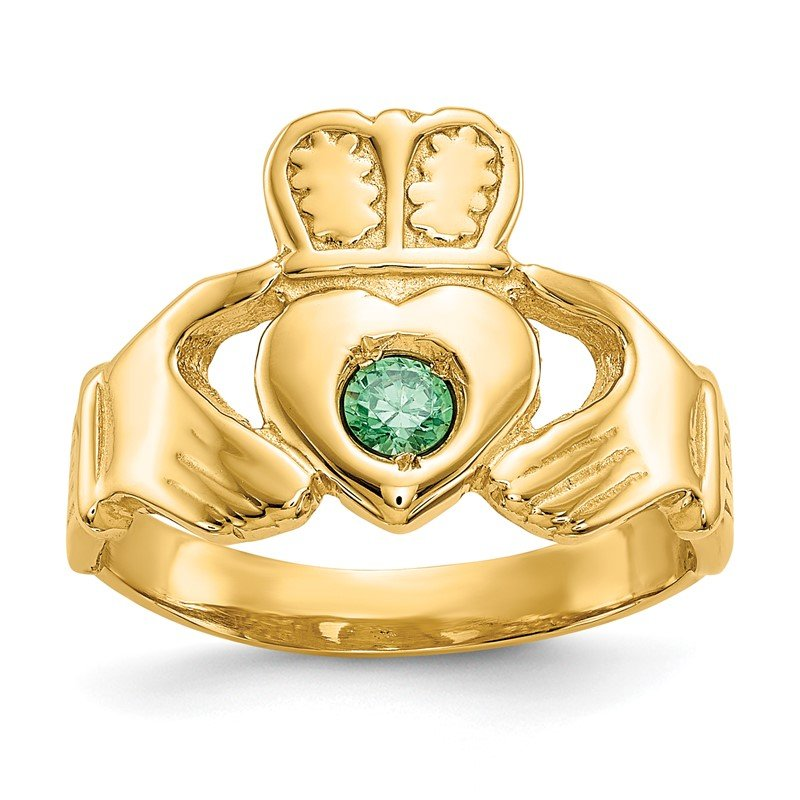 Quality Gold 14k Imitation Green Stone Claddagh Ring