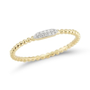 14K scalloped shank band 12 Diamonds 0.03C