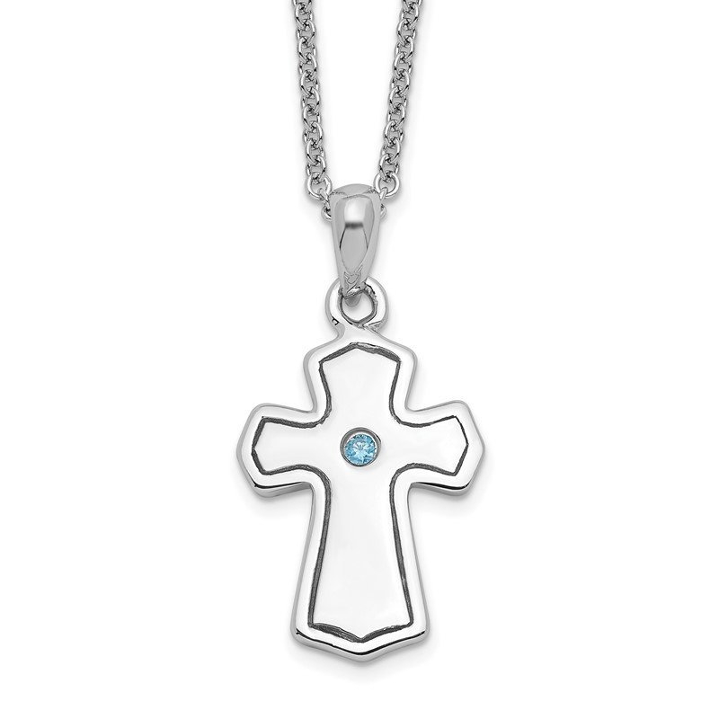 J.F. Kruse Signature Collection Sterling Silver CZ Child Of God (Boy) 14in. Necklace