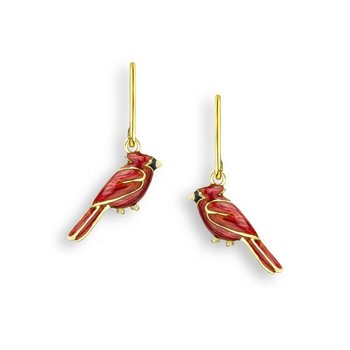Red Cardinal Bird Wire Earrings.18K