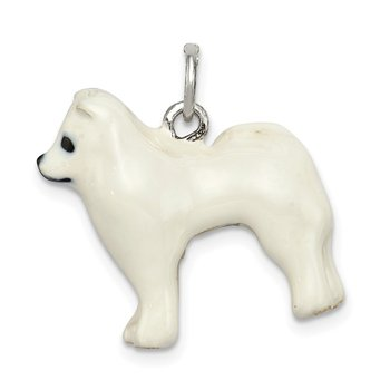 Sterling Silver Enameled Samoyed Charm