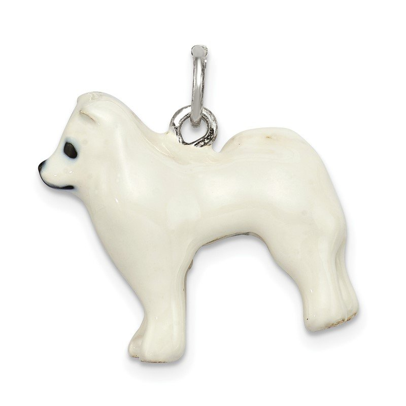 Quality Gold Sterling Silver Enameled Samoyed Charm