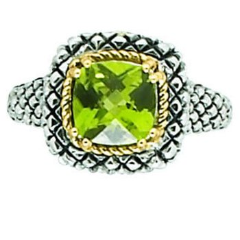 18kt and Sterling Silver Cushion Peridot Button Ring