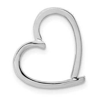 14K White Gold Chain Slide Heart