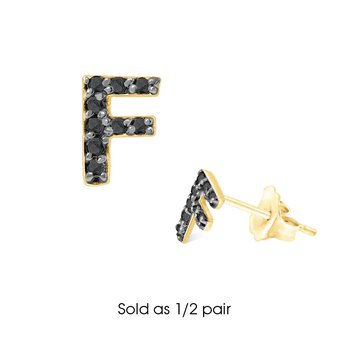 "Black Diamond Single Initial ""F"" Stud Earring (1/2 pair)"