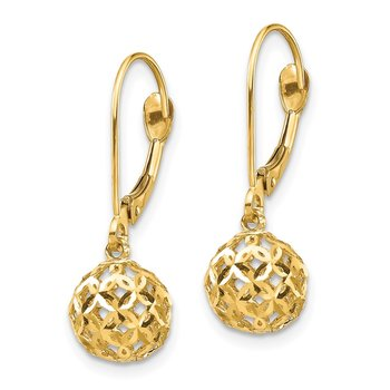 14K Bead Dangle Leverback Earrings