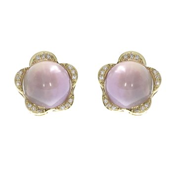 14K Yellow Gold Pink Amethyst Cab Earrings