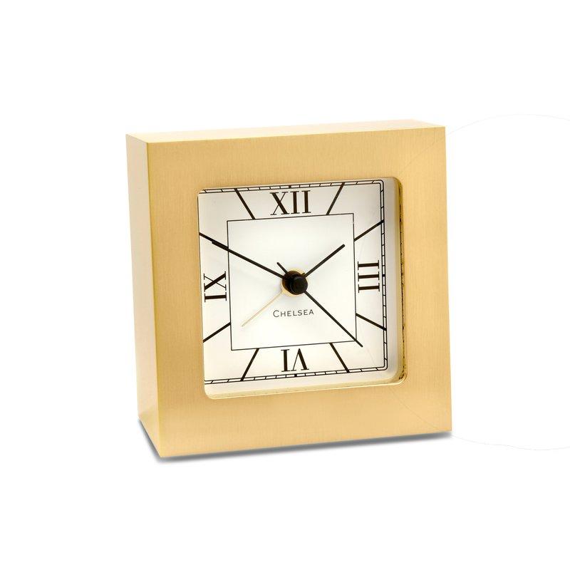 Chelsea Clocks Square Desk Alarm Clock In Brass