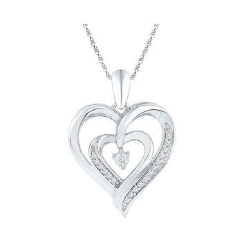 Sterling Silver Womens Round Diamond Double Nested Heart Love Pendant 1/10 Cttw