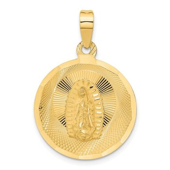 14K Polished D/C Lady Of Guadalupe Circle Pendant